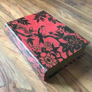 Other - Large Red Bird Floral Faux Book Box